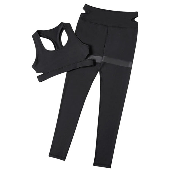 Trendy Women Yoga Set Pants Bra Shoulder Strap Backless Crop Top with Long Pants Leggings Women Running Sportswear Gym Wear - FitForABelle.com