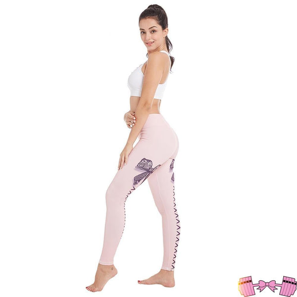 Prissy Women's Bowknot Spandex Workout Leggings Activewear- FitForABelle.com