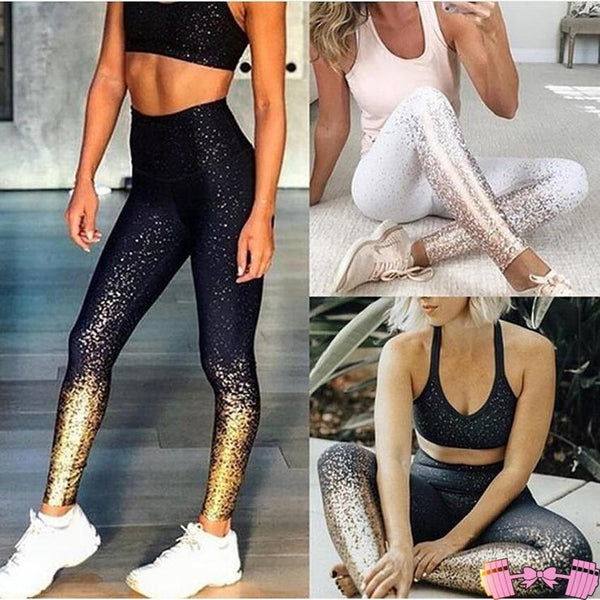 Two Piece Black and Gold - Yoga Set Sportswear activewear- FitForABelle.com