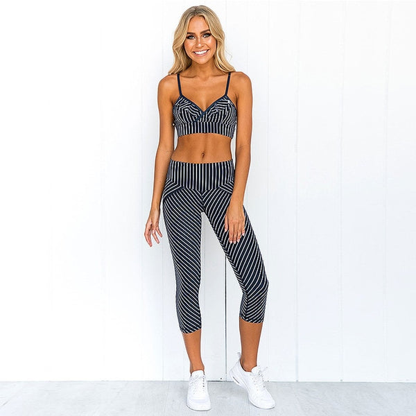 Striped Printed Women Sport Suit Sexy Yoga Set Padded Sports Bra High Waist Yoga Leggings Fitness Gym Clothing Running Wear 2019 - FitForABelle.com