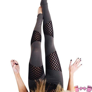 Unique Mesh Yoga Pants High Waist Solid Fitness Leggings Bottoms- FitForABelle.com