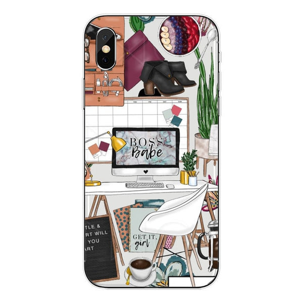 Fashion Travel girl Soft TPU Phone Case For iPhone