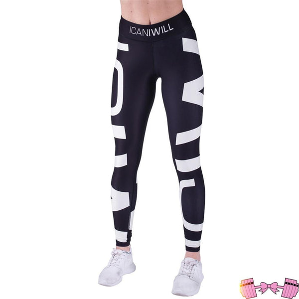Black White Contrast Color Printed Fitness Yoga Sports Leggings activewear- FitForABelle.com