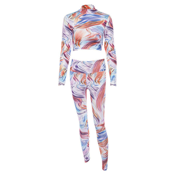 Women Yoga Set Gym Clothing Print Seamless Leggings+Cropped Shirts Workout Sport Suit Women Long Sleeve Fitness Set Wear activewear- FitForABelle.com