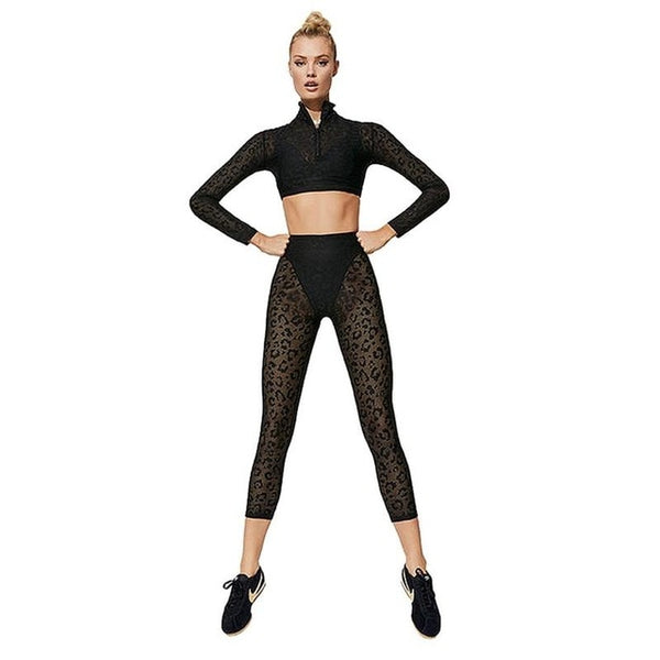 2019 New Women's Yoga Wear Set High Waist Gym Fitness Clothing Leopard Print Lace Running Sportswear - FitForABelle.com