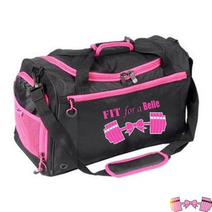 Fit For A Belle Pink Barbells And Bow Gym Bag For Ladies Accessories- FitForABelle.com