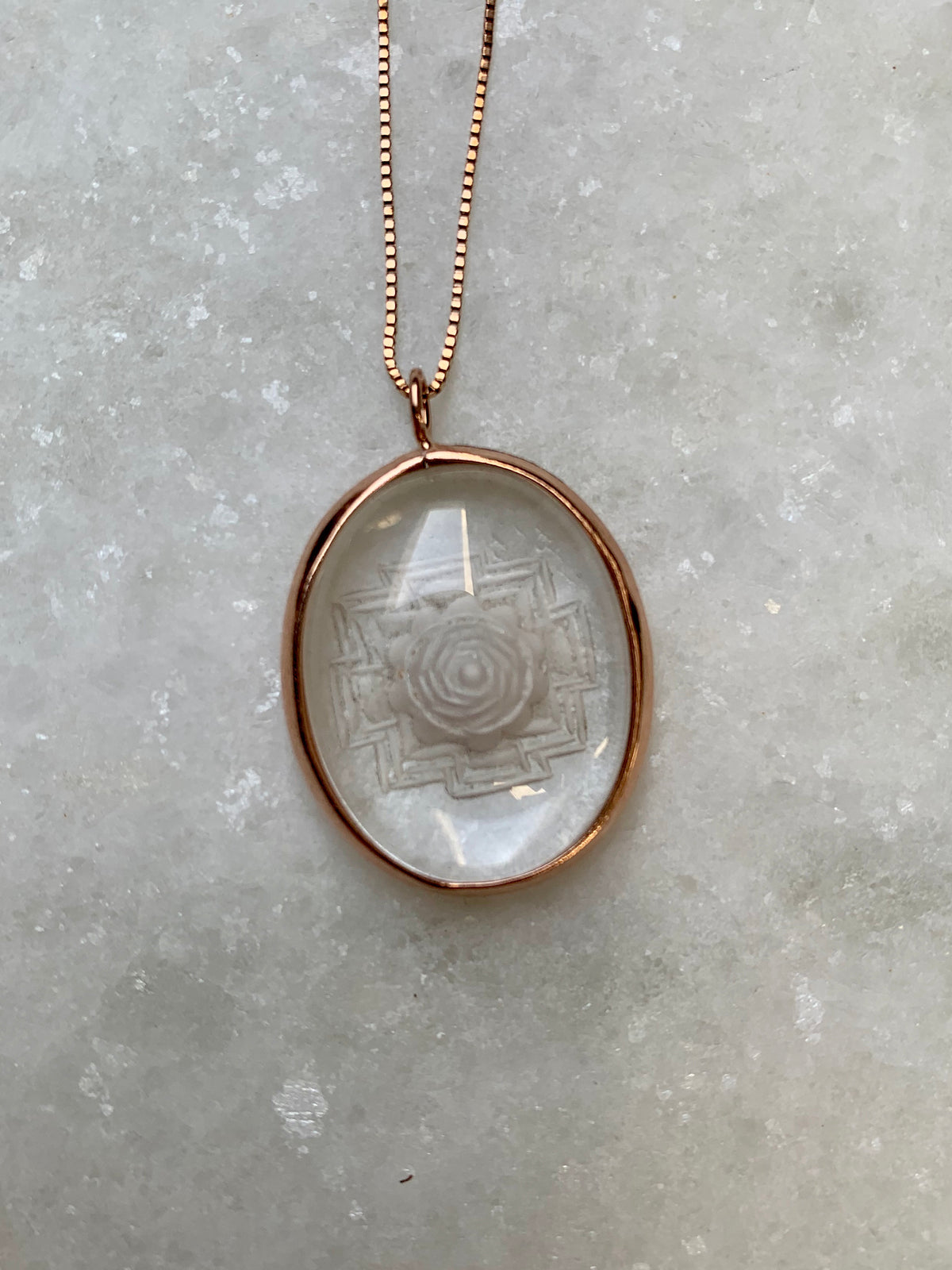 Sri Yantra Pendant | Rose Gold, Himalayan Quartz in 18ct Rose Gold