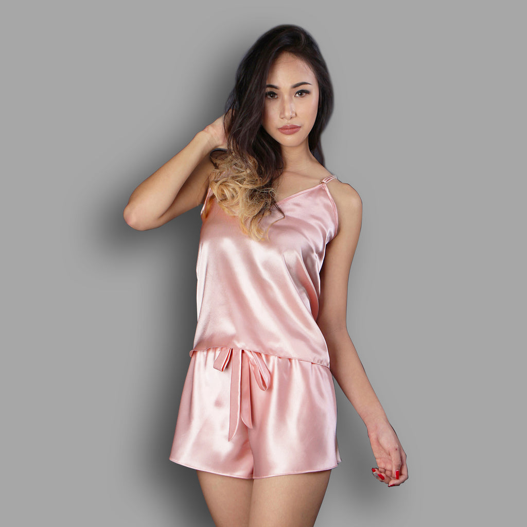 Peach satin pajama set, Satin camisole set, Lounge wear, Satin nightwear, Sleepwear, Loungewear, Camisole top, Camisole short byb Ange Dechu - Ange Déchu