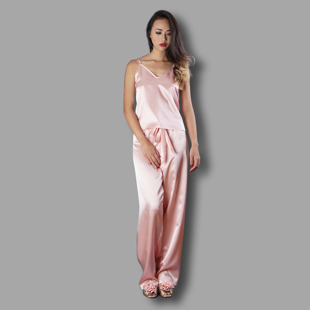 Peachy Satin Pajama, Pajama Set, Women's nightwear, Loungewear, Satin nightwear, Sleepwear by Ange Dechu - Ange Déchu