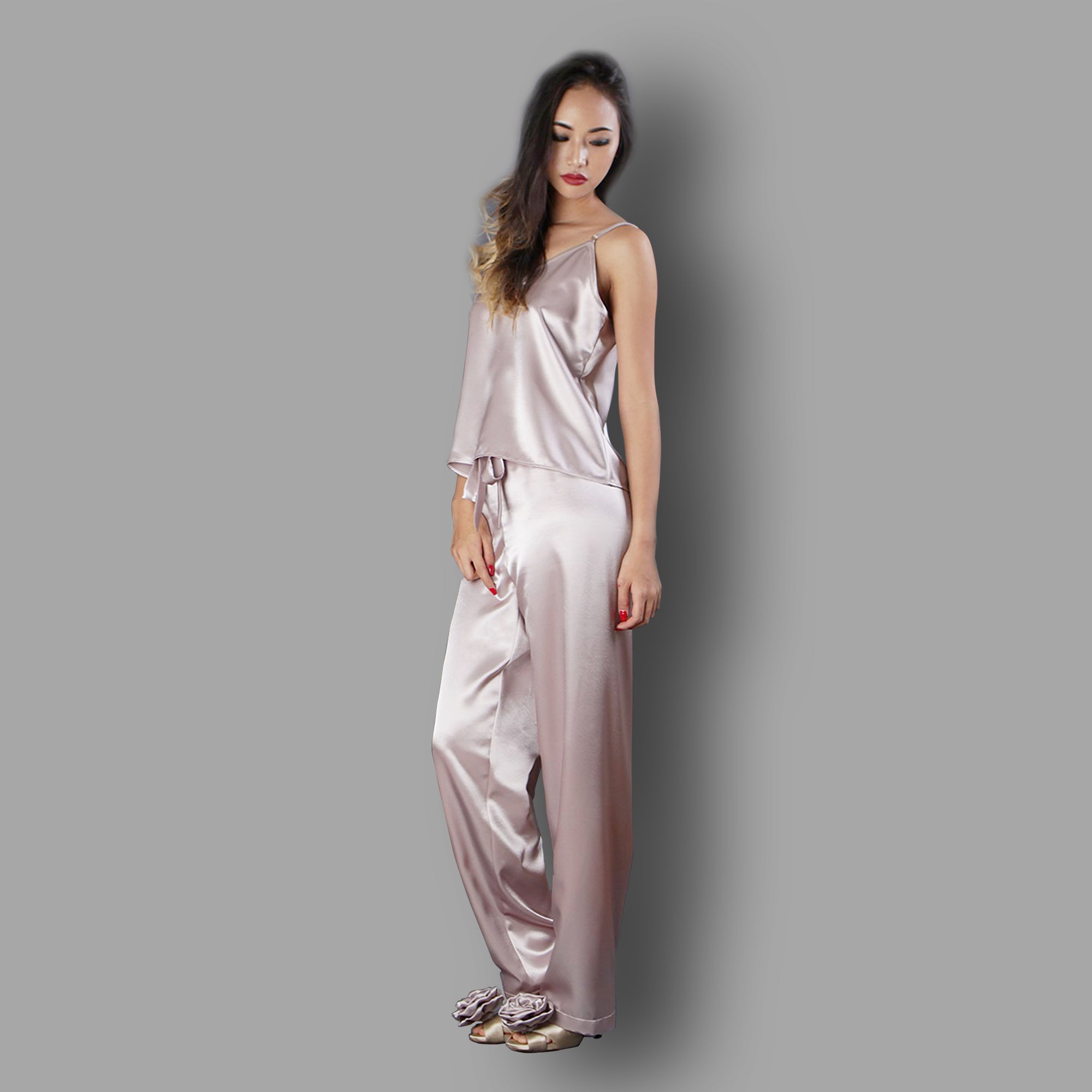 Pajama Set Camisole top Satin nightwear Lounge wear, Sleepwear, Bridal nightwear by Ange Dechu - Ange Déchu