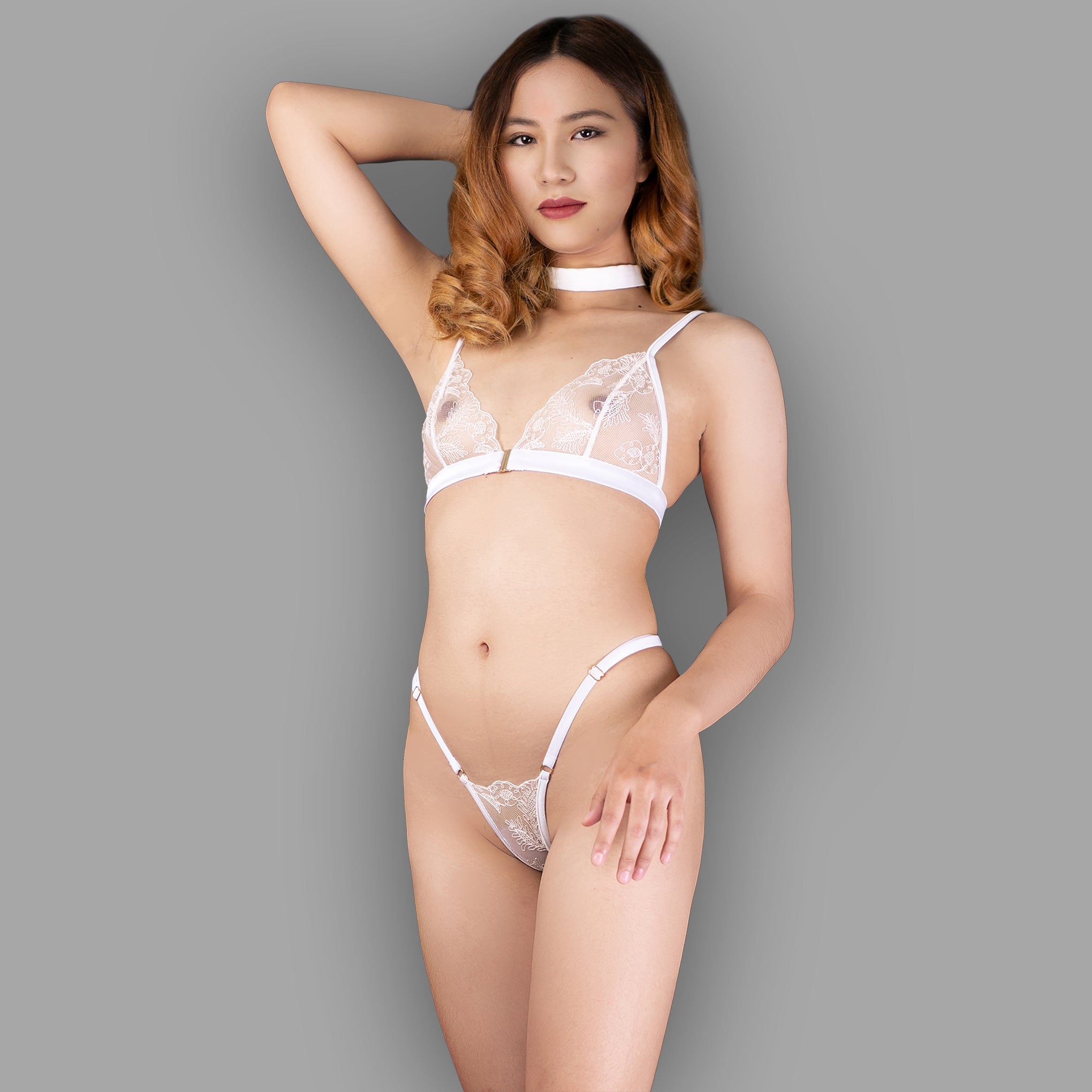 Sheer See through lingerie g string gift for her in white lace  high cut Micro panties thong - Ange Déchu