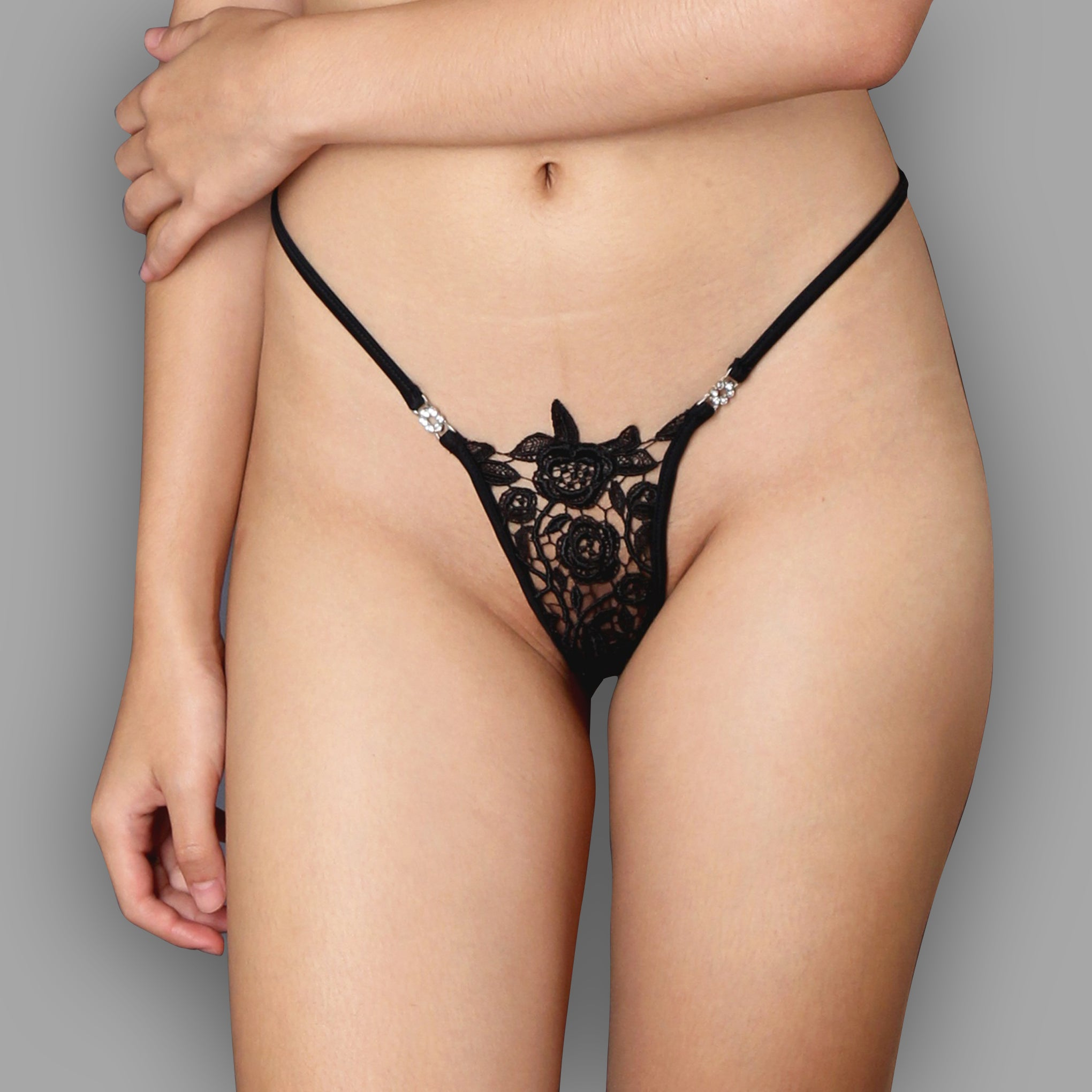 Sheer lingerie,Black lace g string, Thong, sheer pantie, Erotic lingerie,Black Lace lingerie by Ange Dechu - Ange Déchu