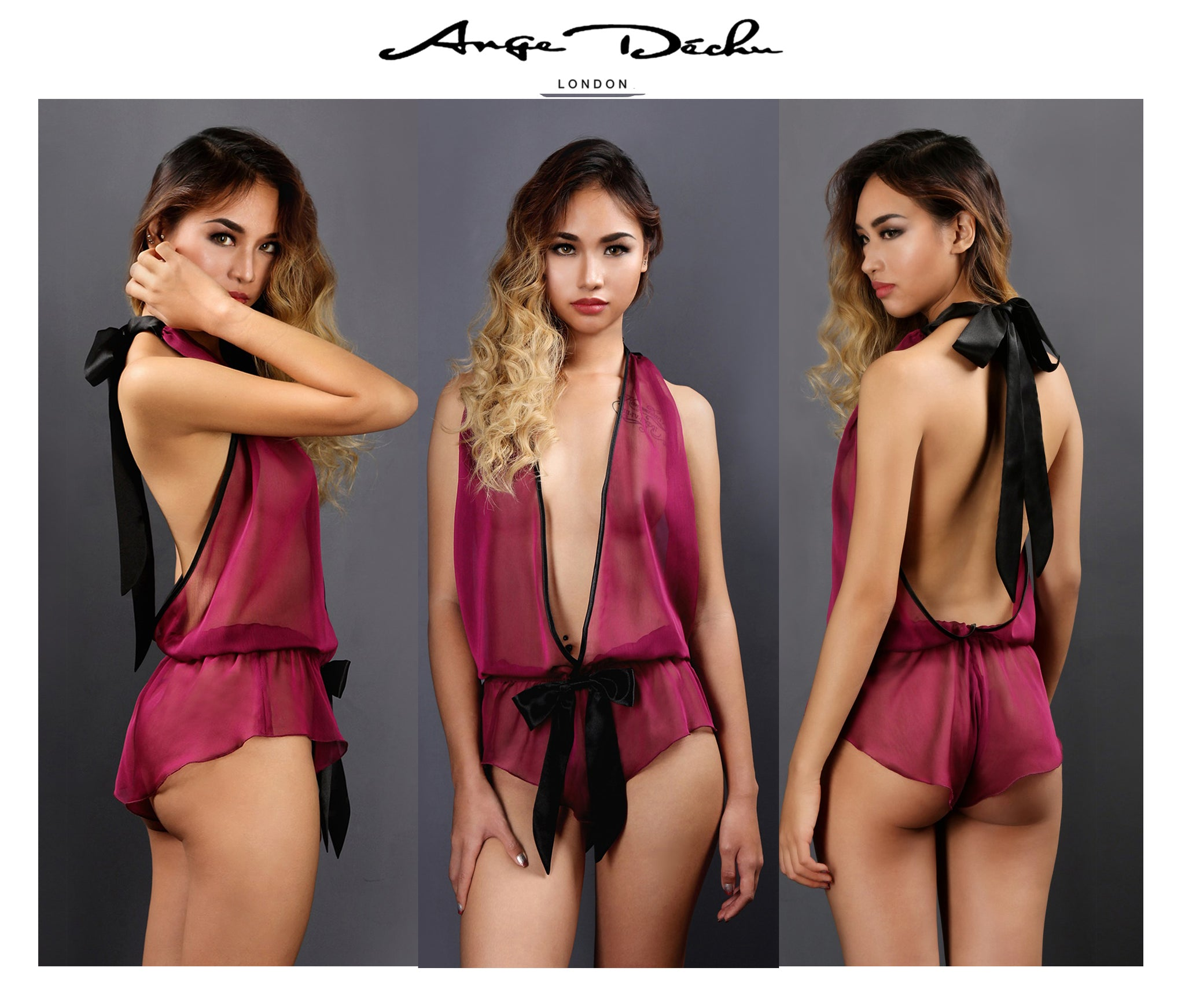 Sheer Lingerie, See through sexy Erotic Backless Lingerie Teddy Play suit in Purple  Bridal - Ange Déchu