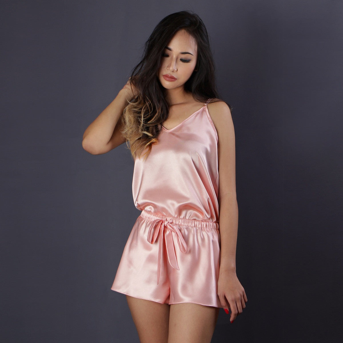 Peach satin pajama set, Satin camisole set, Lounge wear, Satin nightwear, Sleepwear, Loungewear, Camisole top, Camisole short byb Ange Dechu