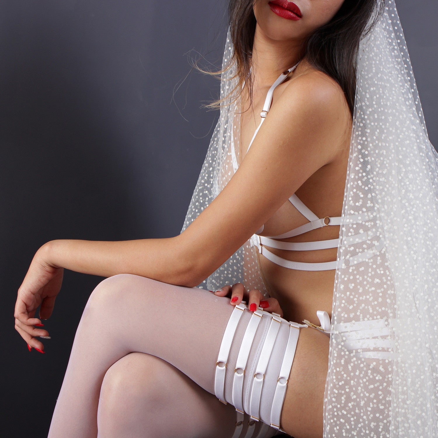 Bridal white garters, Strappy white garters, Bridal lingerie, erotic lingerie by Ange Dechu - Ange Déchu
