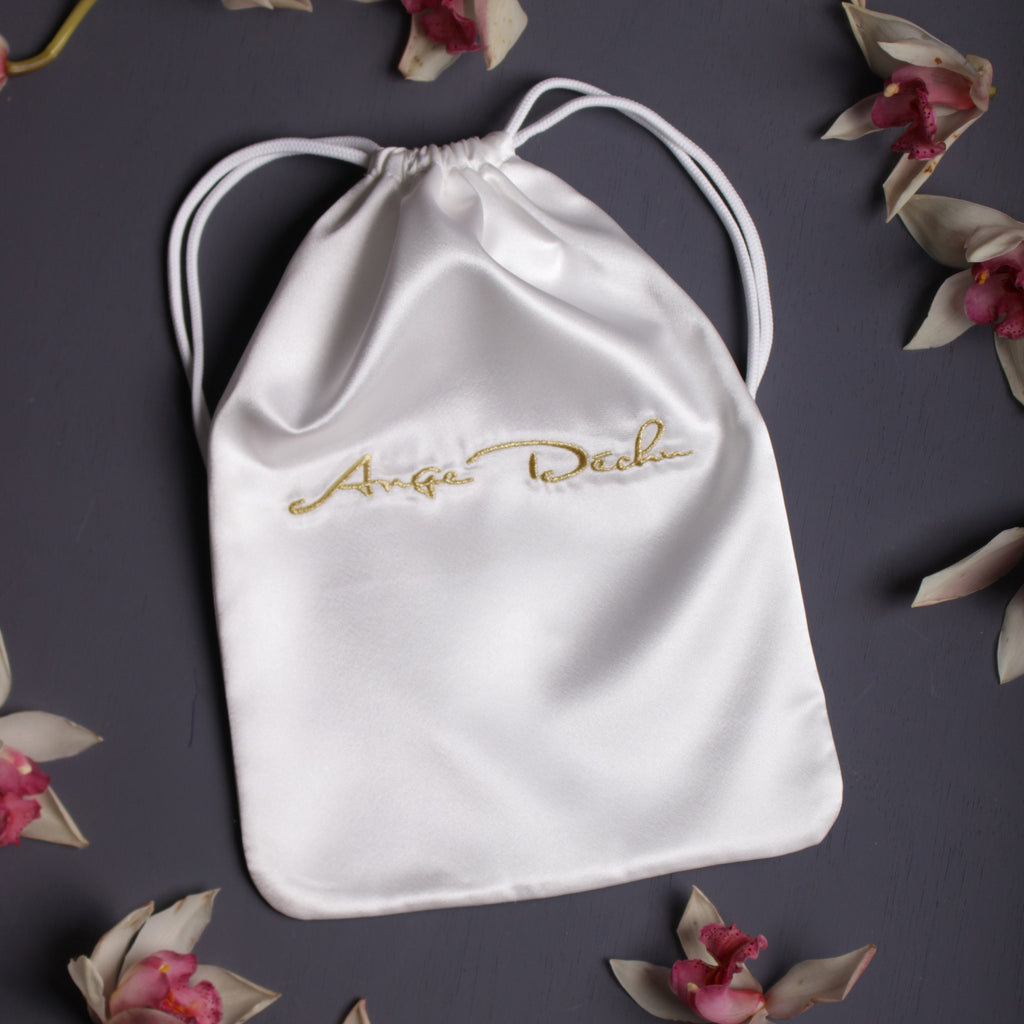 Embroidered satin bag, Lingerie white satin bag By Ange Déchu