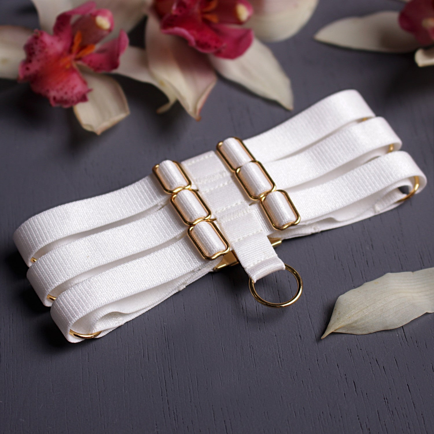 White choker, strappy choker, Neck accessories, Bridalwear