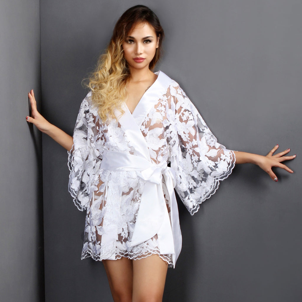 Sheer Lingerie White Lace Bridal Lingerie Dressing gown Kimono See through Lounge wear - Ange Déchu