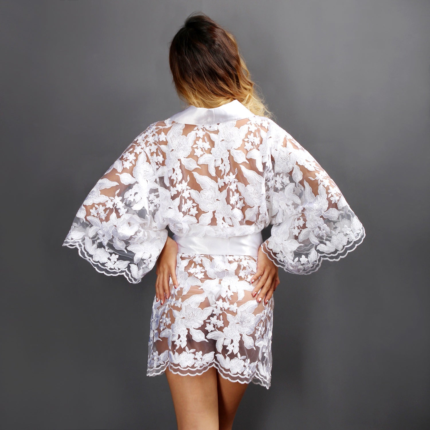 Sheer Lingerie White Lace Bridal Lingerie Dressing gown Kimono See through Lounge wear