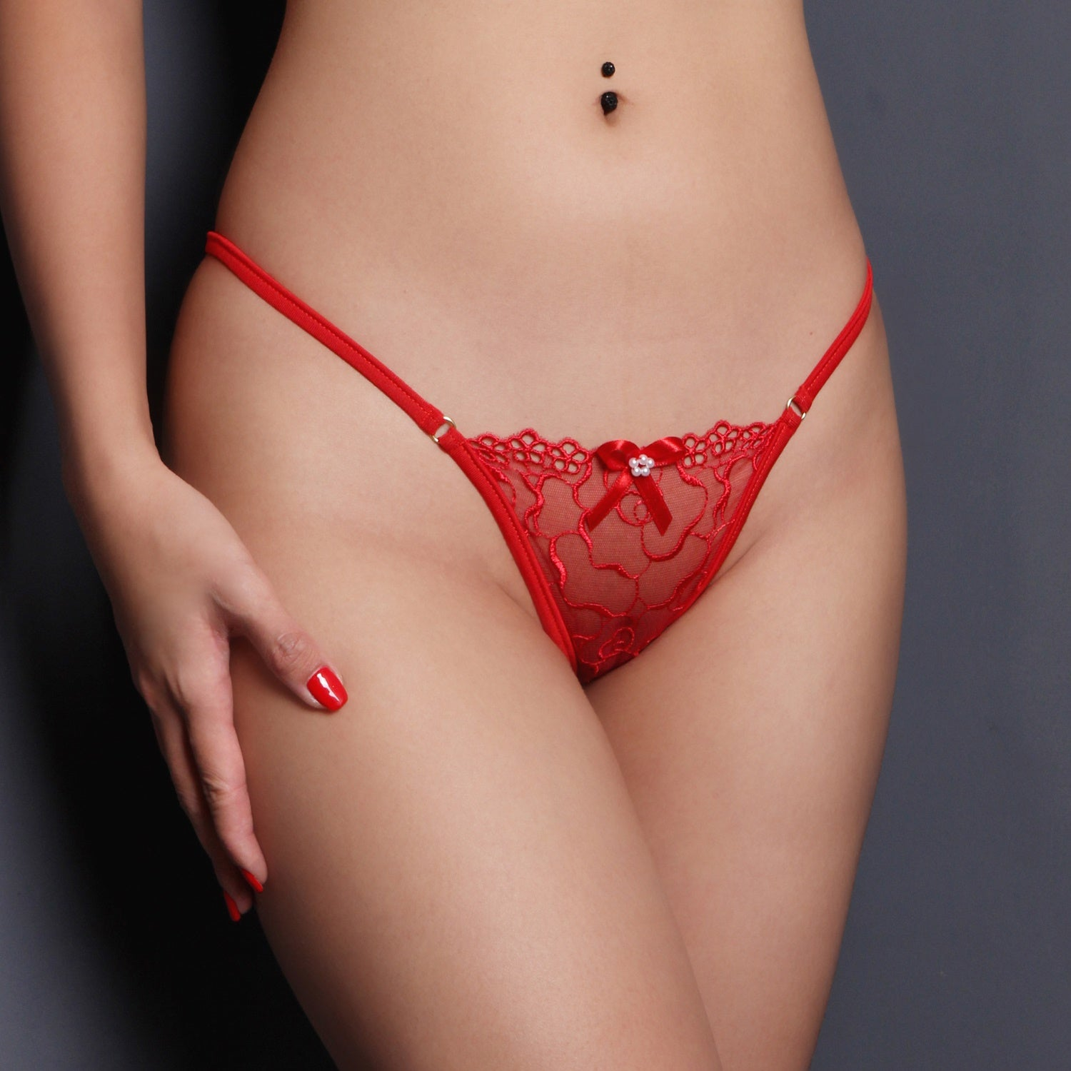 Sheer lingerie Red Lace G string Erotic Bridal lingerie Sexy See through pantie