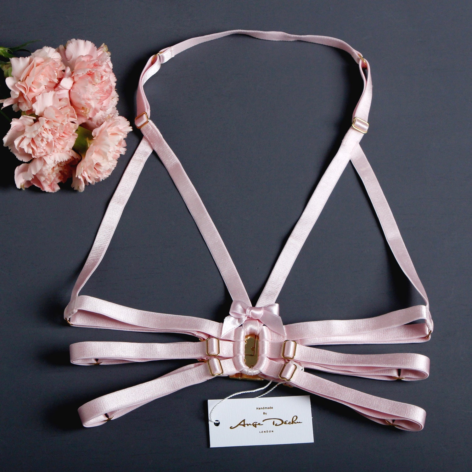 Strappy Harness Bra, Pink harness cage bra, Erotic lingerie, Dancewear, Clubwear, Bondage Fetish Dominatrix outfit by Ange Dechu