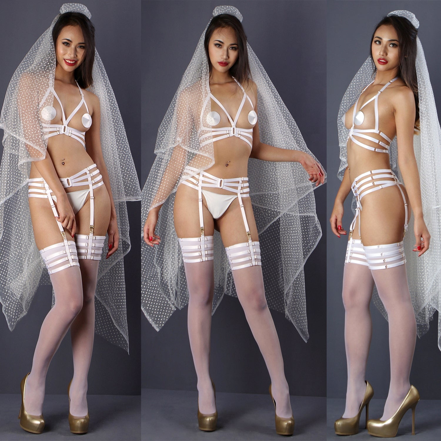White harness suspender belt, Bridal strappy suspender, bridal lingerie, harness belt, body harness by Ange Dechu - Ange Déchu