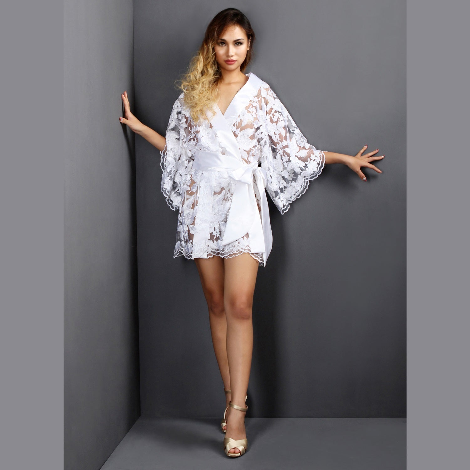 Sheer Lingerie White Lace Bridal Lingerie Dressing gown Kimono, See ...