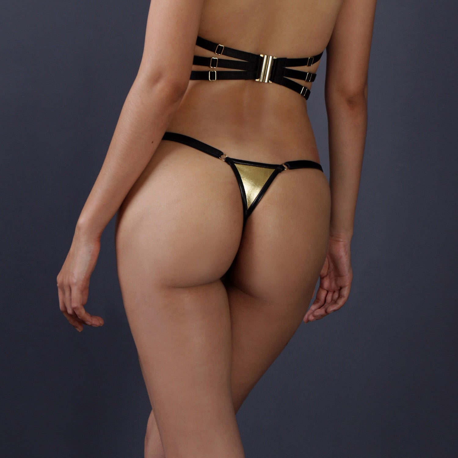 Wet look g string, Gold and Black wet look G string, Erotic lingerie, Micro G string.