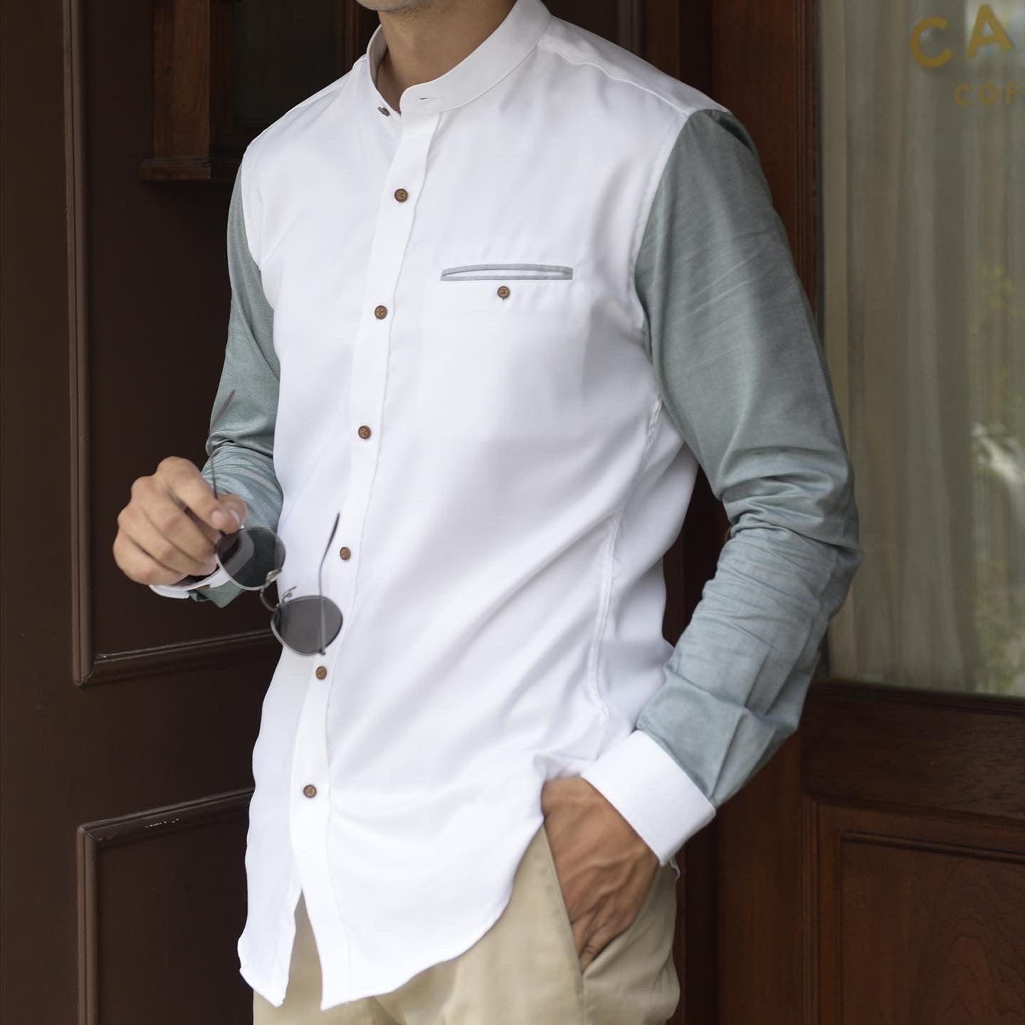 LONG SLEEVE TWO-TONE CHINESE COLLAR (WHITE/GREEN)