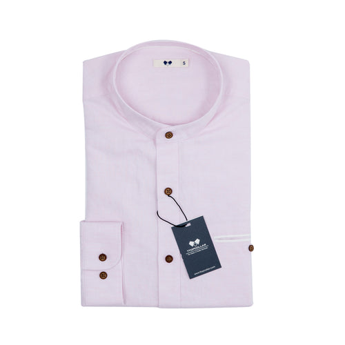 LONG SLEEVE PINK LINEN CHINESE COLLAR SHIRT