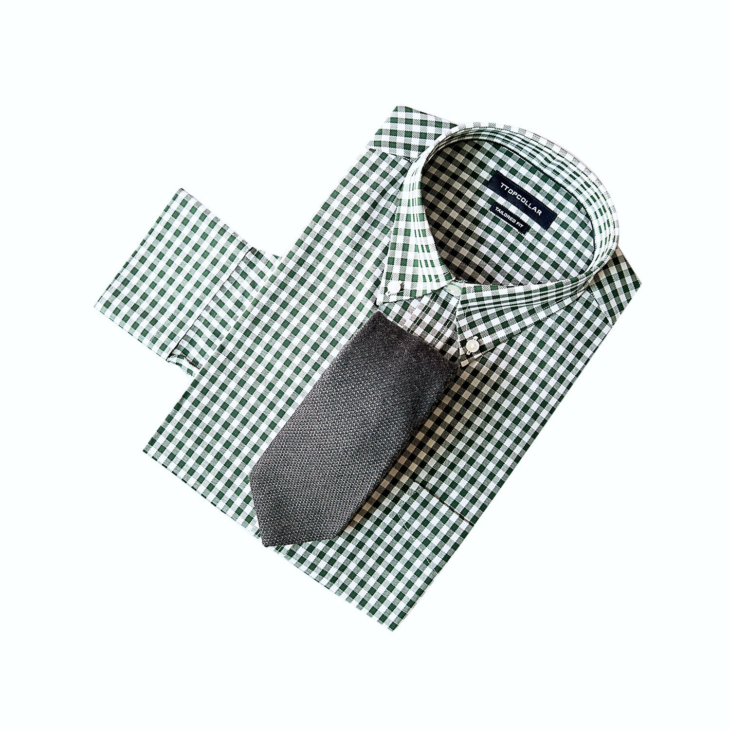 LONG SLEEVE FOREST GREEN GINGHAM SHIRT