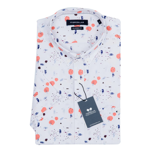 SHORT SLEEVE SUMMER ORANGE PRINTED SHIRT