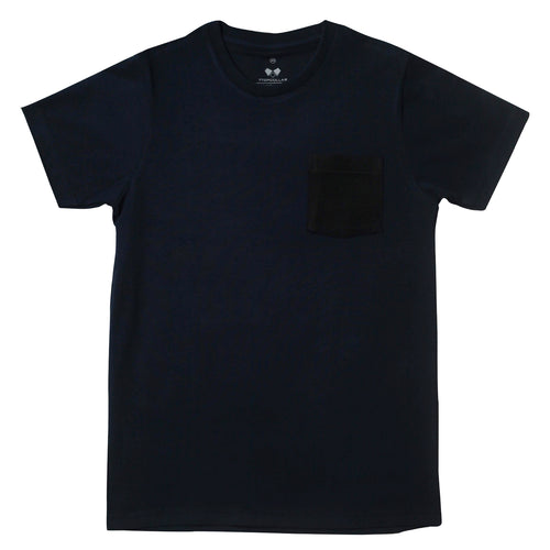 Copy of Super Soft T-Shirt Navy On Black Pocket