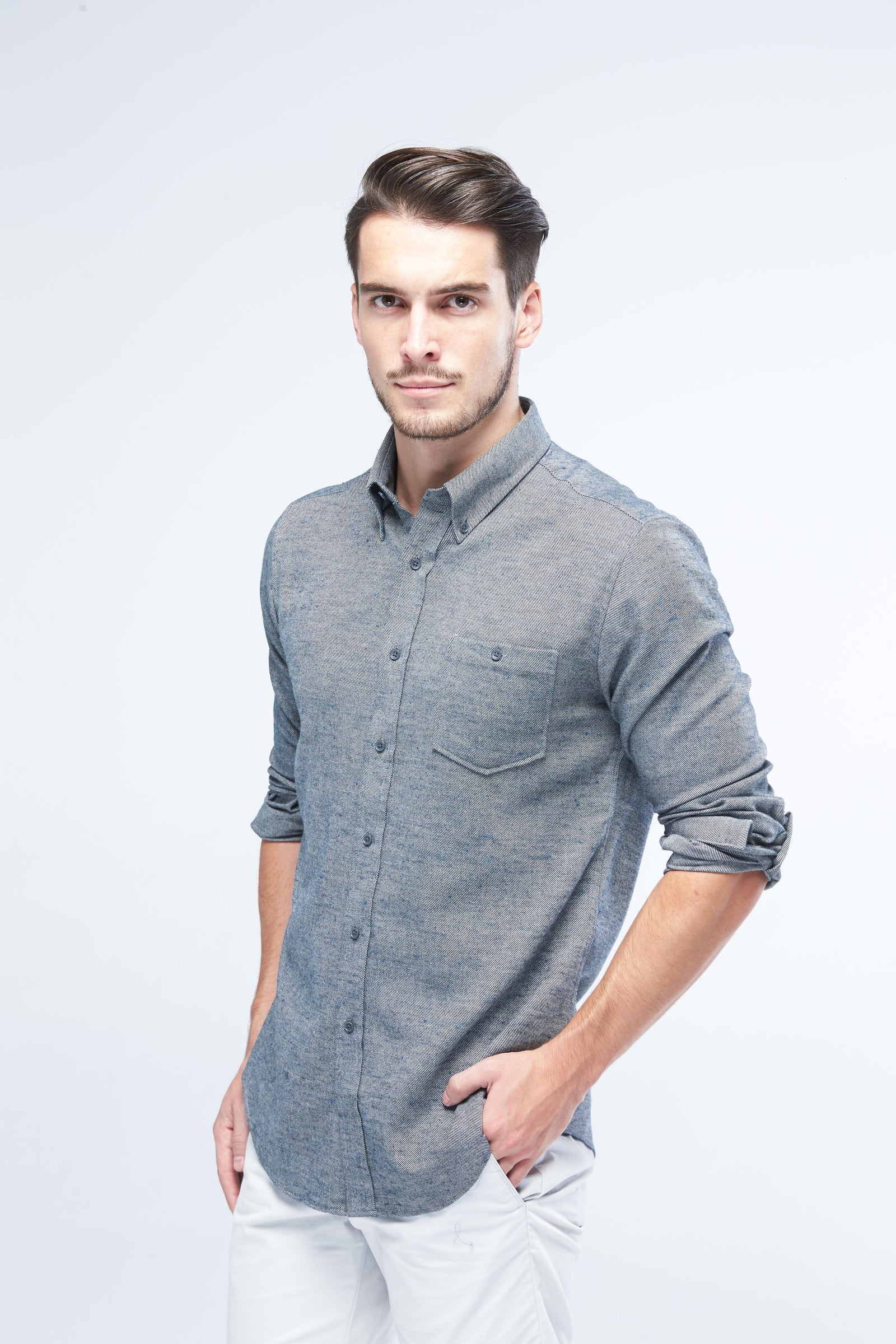 LONG SLEEVE STEEL GREY SHIRT