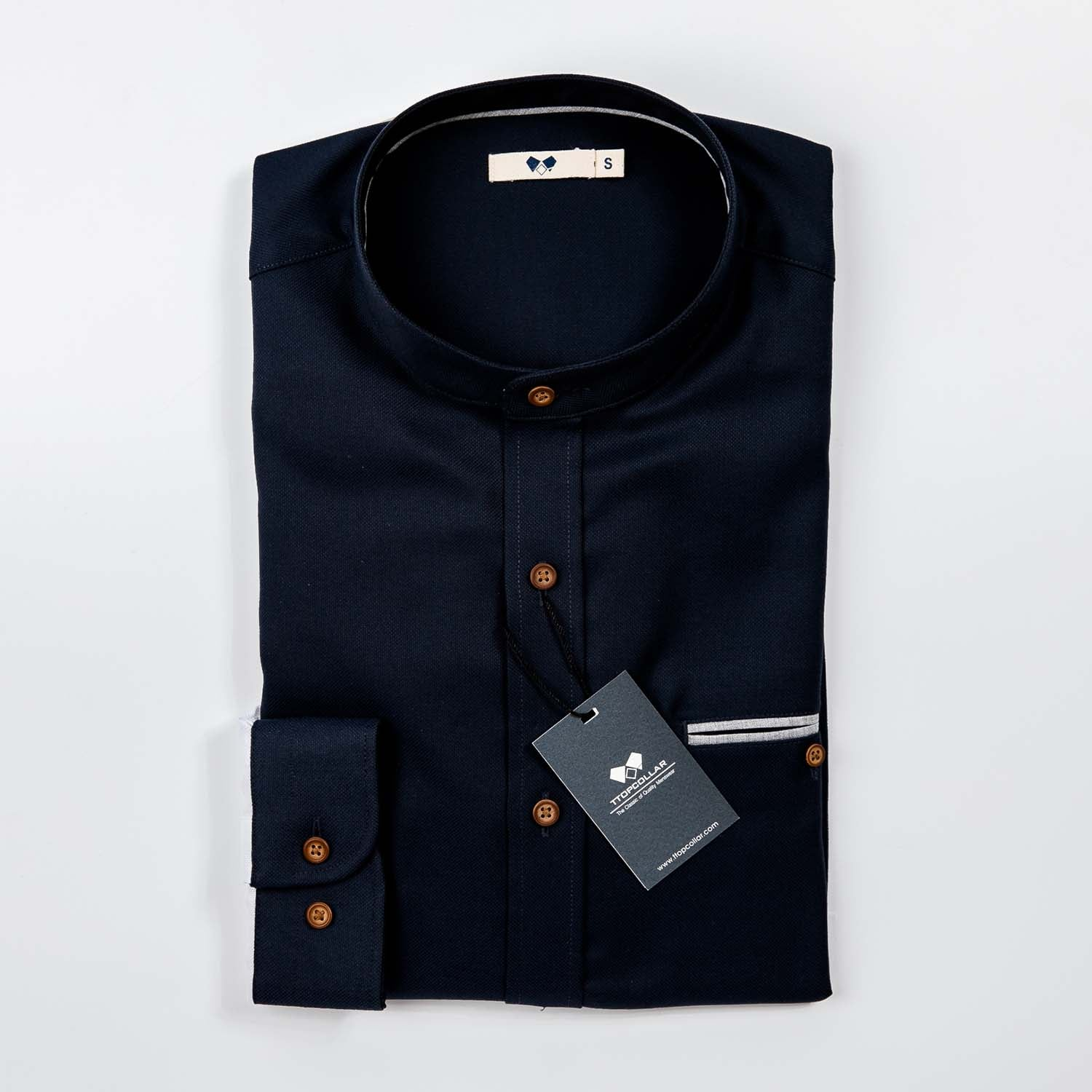 LONG SLEEVE TWO-TONE CHINESE COLLAR ( NAVY/WHITE)