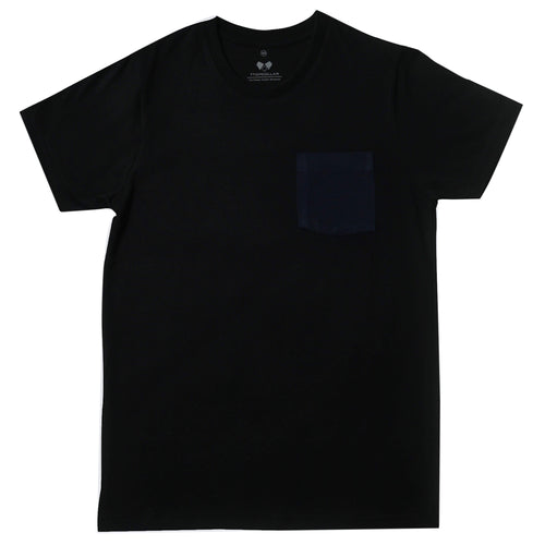Super Soft T-Shirt Black On Navy Pocket