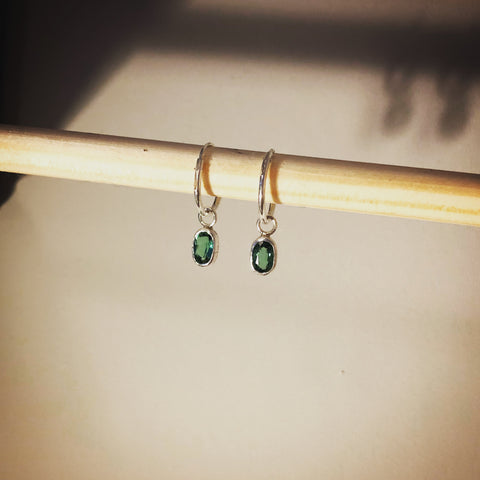 Teal tourmaline pirate earrings