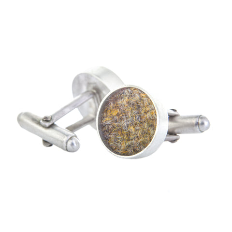Sterling Silver and Tweed Cufflinks