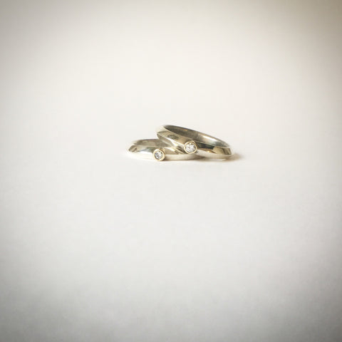Diamond ring in high polished silver