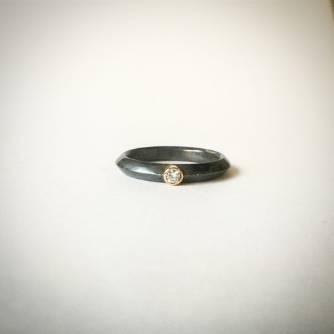 Diamond ring in oxidised silver