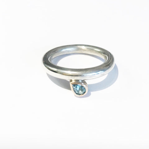 Sapphire, silver and rose gold ring