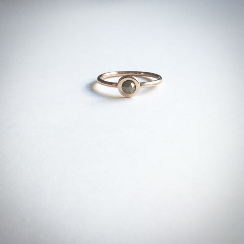 Rose gold and grey diamond ring