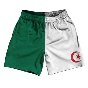 "Algeria Country Flag Athletic Running Fitness Exercise Shorts 7"" Inseam Made In USA By Ultras Sportswear"