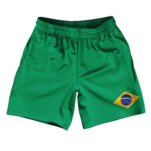 "Brazil Country Flag Athletic Running Fitness Exercise Shorts 7"" Inseam Made In USA By Ultras Sportswear"