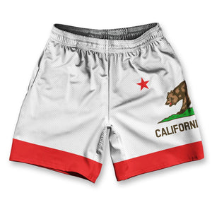 "California State Flag Athletic Running Fitness Exercise Shorts 7"" Inseam by Ultras Sportswear"