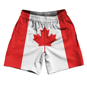 "Canada Country Flag Athletic Running Fitness Exercise Shorts 7"" Inseam Made In USA By Ultras Sportswear"