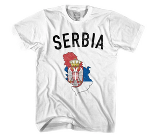 Serbia Flag & Country White YOUTH MEDIUM T-shirt - Final Sale