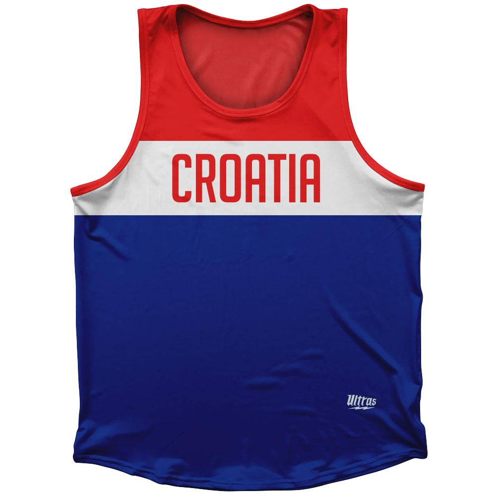 Croatia Country Finish Line Athletic Sport Tank Top Made In USA