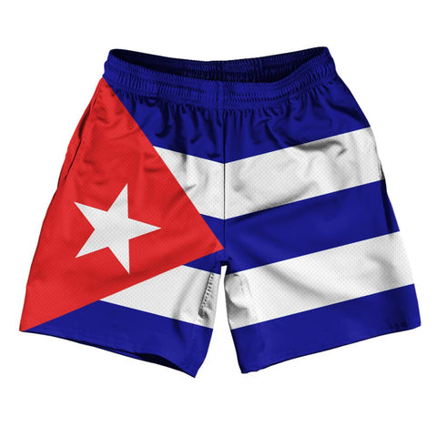 "Cuba Country Flag Athletic Running Fitness Exercise Shorts 7"" Inseam Made In USA By Ultras Sportswear"