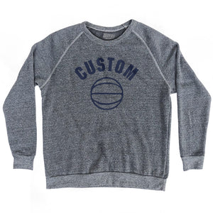 Custom Basketball Crewneck Adult Tri-Blend Sweatshirt